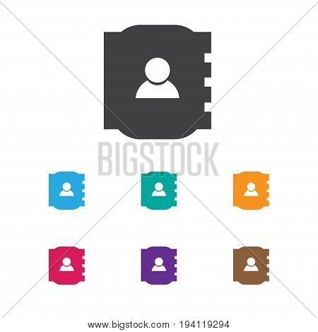 Vector Illustration Of Business Symbol On Personal Info Icon. Premium Quality Isolated Contact Book Element In Trendy Flat Style.