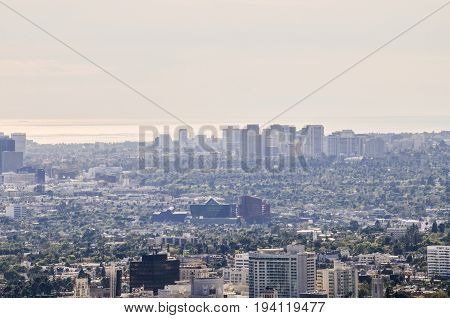 Los Angeles, Usa - March 9, 2014: Cityscape Or Skyline Of La City With Smog During Sunrise Or Sunset