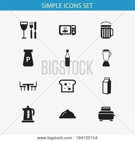 Set Of 12 Editable Cooking Icons. Includes Symbols Such As Tableware, Squeezer, Microwave And More. Can Be Used For Web, Mobile, UI And Infographic Design.