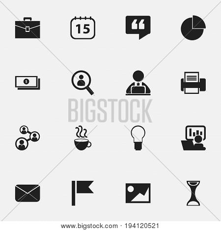 Set Of 16 Editable Bureau Icons. Includes Symbols Such As Printing Machine, Publicity, Epistle And More. Can Be Used For Web, Mobile, UI And Infographic Design.