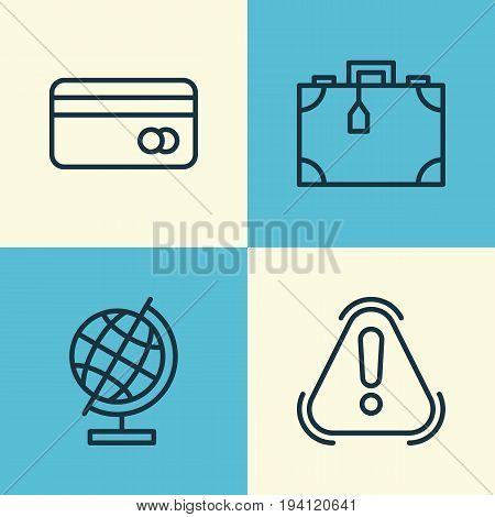 Airport Icons Set. Collection Of Plastic Card, Suitcase, Siren And Other Elements. Also Includes Symbols Such As Suitcase, Debit, Briefcase.