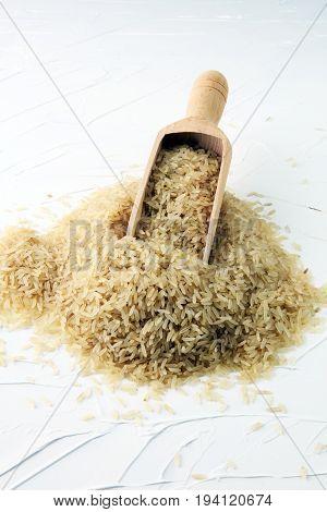 Rice, Indian Basmati, Pakistani Basmati Uncooked On White Backgr