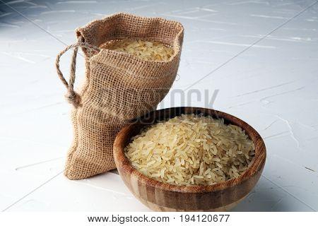 Rice, Indian Basmati, Pakistani Basmati Uncooked On White Background