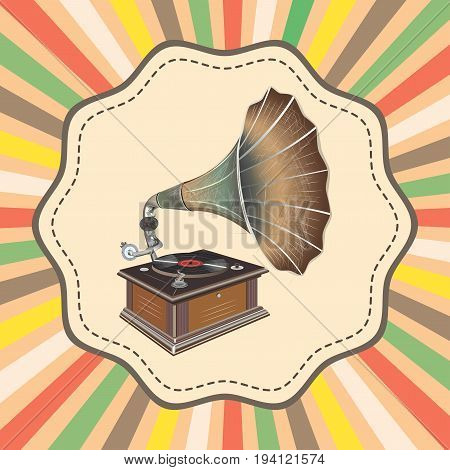 vector old fashion gramophone on retro background