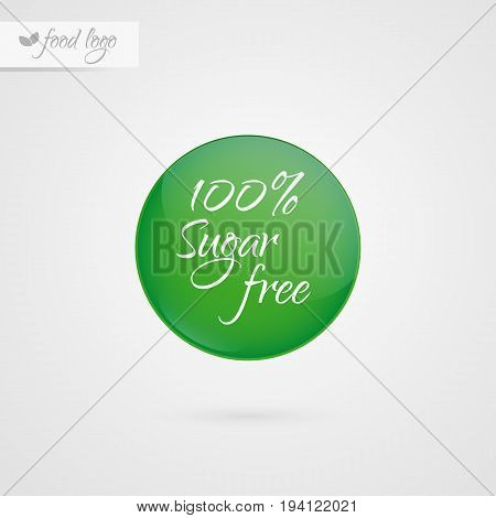100% Sugar free label. Food logo icon. Vector green and white diabetic sticker sign isolated. Illustration symbol for product packaging healthy eating lifestyle healthcare diabetes shop merchandise