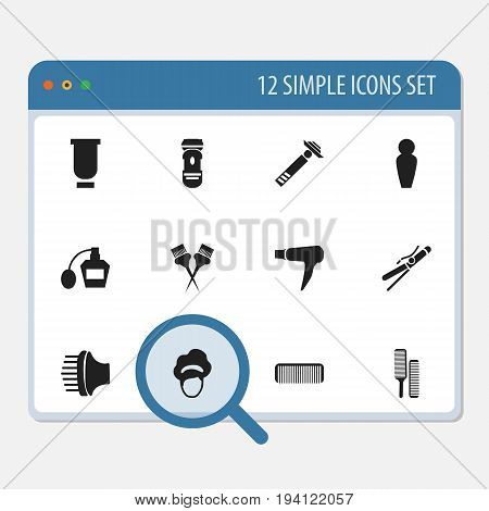 Set Of 12 Editable Coiffeur Icons. Includes Symbols Such As Besom, Container, Shaver Instrument And More. Can Be Used For Web, Mobile, UI And Infographic Design.