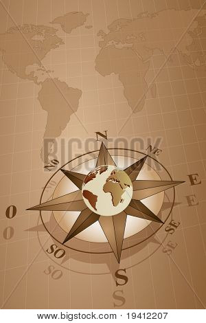 Map world with compass rose with globe, vintage style