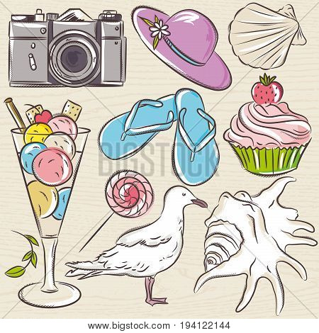 Set of summer symbols seashell seagull camera muffin hat ice cream on a beige grunge background vector illustration.