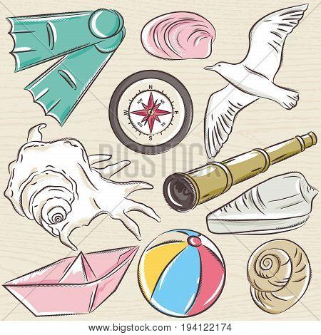 Set of summer symbols boat seashell compass telescope seagull on a beige grunge background vector illustration.