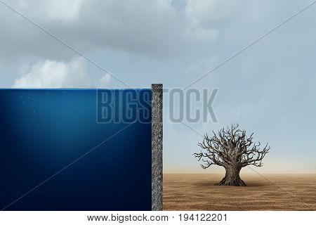 Unfair distribution and unequal capitalism business economic concept as one side with an ocean of water with a dead dry tree in the barren desert as an economic metaphor for inequality with the poor and wealthy in a 3D illustration style.
