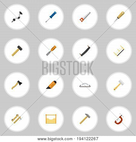 Set Of 16 Editable Equipment Icons. Includes Symbols Such As Bit, Instruments, Saw And More. Can Be Used For Web, Mobile, UI And Infographic Design.