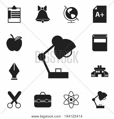Set Of 12 Editable School Icons. Includes Symbols Such As Lighting, Jingle, Nib And More. Can Be Used For Web, Mobile, UI And Infographic Design.
