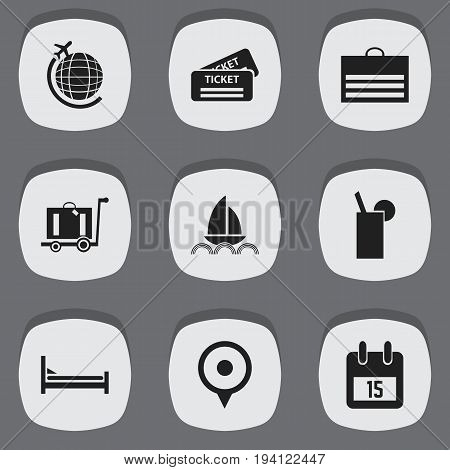 Set Of 9 Editable Travel Icons. Includes Symbols Such As Date Block, Location, Yacht And More. Can Be Used For Web, Mobile, UI And Infographic Design.