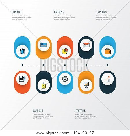 Job Colorful Outline Icons Set. Collection Of Identification Document, Bank Cash, Circle Stats And Other Elements. Also Includes Symbols Such As Administrator, Diagram, Bank.