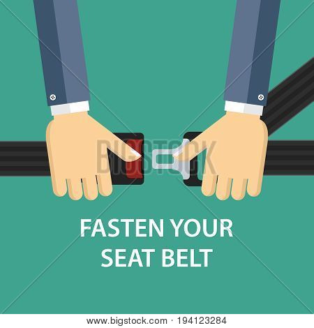 Illustration of two hands locking seat belt.