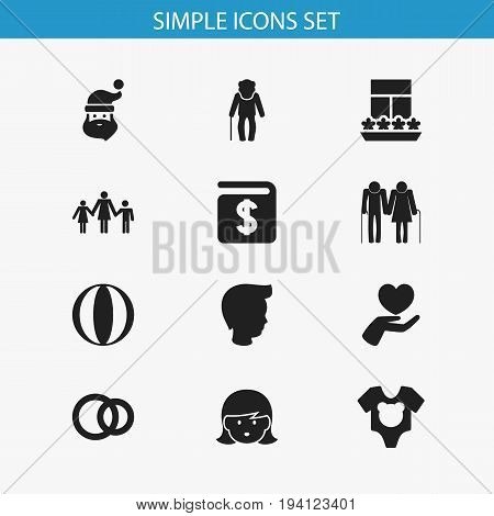 Set Of 12 Editable Kin Icons. Includes Symbols Such As Oldsters, Grandpa , Grandpa. Can Be Used For Web, Mobile, UI And Infographic Design.