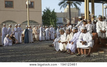 Nizwa Oman June 23rd 2017: omani people at a Habta market before Eid al Fitr