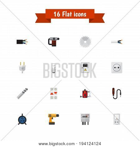 Set Of 16 Editable Electric Icons. Includes Symbols Such As Mini Drill, Wire, Inserting Nails And More. Can Be Used For Web, Mobile, UI And Infographic Design.