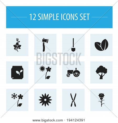 Set Of 12 Editable Agriculture Icons. Includes Symbols Such As South, Frosts, Grains And More. Can Be Used For Web, Mobile, UI And Infographic Design.