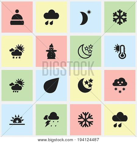 Set Of 16 Editable Weather Icons. Includes Symbols Such As Drip, Frostbite, Snowing And More. Can Be Used For Web, Mobile, UI And Infographic Design.