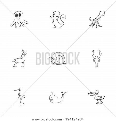 Set Of 9 Editable Zoo Icons. Includes Symbols Such As Shadoof, Cachalot, Lobster And More. Can Be Used For Web, Mobile, UI And Infographic Design.