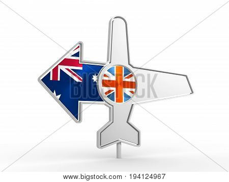 Emblem design for airlines, airplane tickets, travel agencies. Airplane icon and destination arrow. Flags of the Great Britain and Australia. 3D rendering