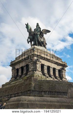 Statue of German Emperor William I in German Corner in Koblenz Germany