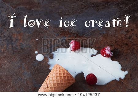 close up of a melting ice cream on brown marble background with the inscription: I love ice cream