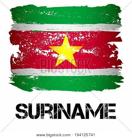Flag of Suriname from brush strokes in grunge style isolated on white background. Country in South America. Vector illustration