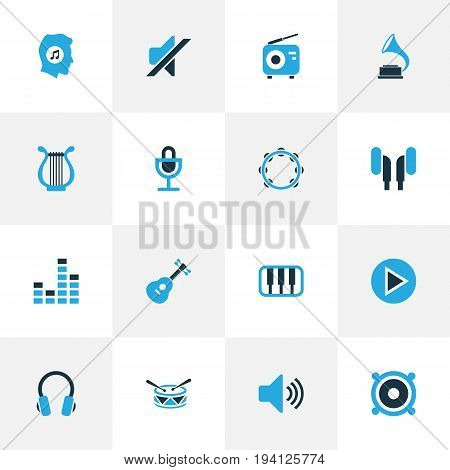 Audio Colorful Icons Set. Collection Of Headphone, Drum, Piano And Other Elements. Also Includes Symbols Such As Earphone, Sound, Speaker.