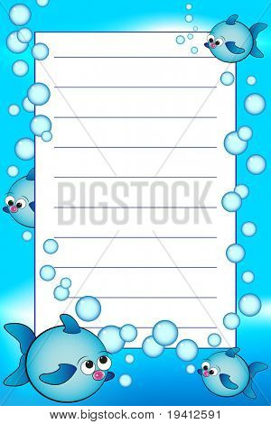 Kid notebook page with fishes and air bubbles  - Lined page for children