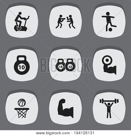Set Of 9 Editable Fitness Icons. Includes Symbols Such As Heavy Training, Basketball, Fight And More. Can Be Used For Web, Mobile, UI And Infographic Design.