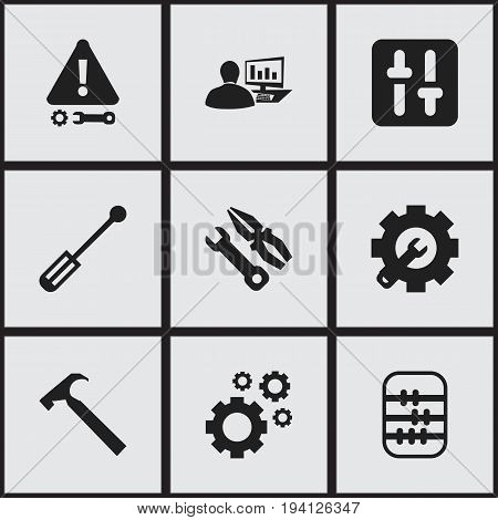 Set Of 9 Editable Toolkit Icons. Includes Symbols Such As Instrument, Arithmetic, Caution And More. Can Be Used For Web, Mobile, UI And Infographic Design.
