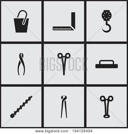 Set Of 9 Editable Tools Icons. Includes Symbols Such As Pincers, Forceps, Balance And More. Can Be Used For Web, Mobile, UI And Infographic Design.