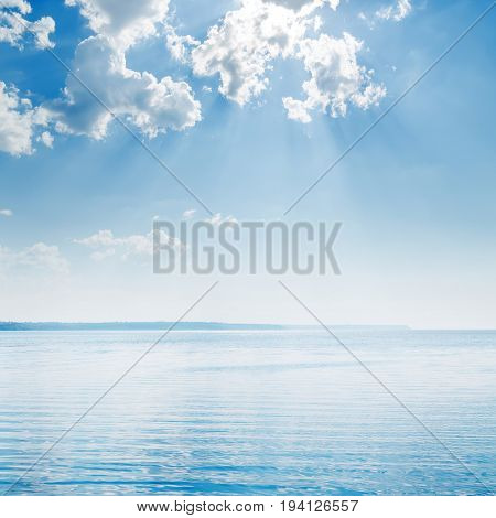 blue sky with clouds over big river