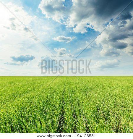 low dark clouds over green grass field