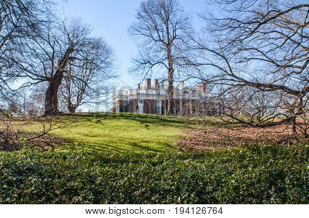 Charlottesville USA - January 20 2013: Monticello Thomas Jefferson's home with columns in spring