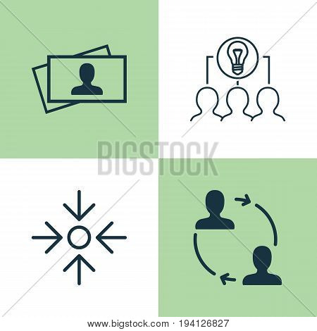 Corporate Icons Set. Collection Of Cooperation, Business Aim, Collaborative Solution And Other Elements. Also Includes Symbols Such As Partnership, Target, Collaboration.