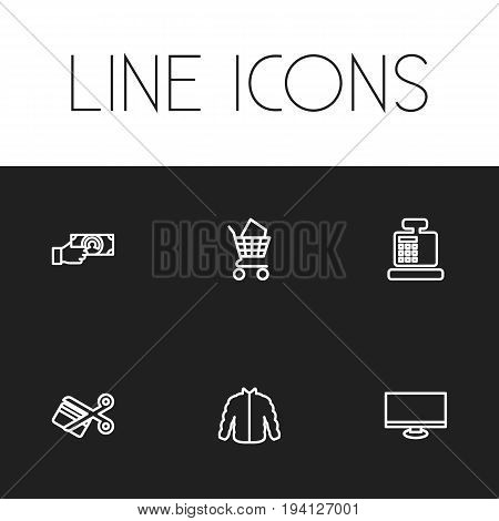 Set Of 6 Editable Business Icons. Includes Symbols Such As Display, Giving Money, Cardigan And More. Can Be Used For Web, Mobile, UI And Infographic Design.