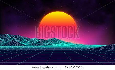Retro background futuristic landscape 1980s style. Digital retro landscape cyber surface. Retro music album cover template : sun, space, mountains . 80s Retro Sci-Fi Background Summer Landscape.
