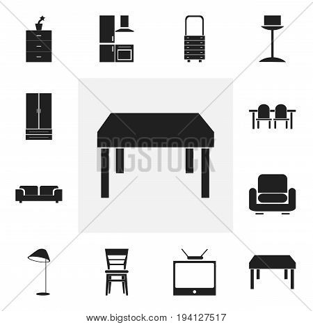 Set Of 12 Editable Furniture Icons. Includes Symbols Such As Recliner, Cupboard, Enlightenment And More. Can Be Used For Web, Mobile, UI And Infographic Design.