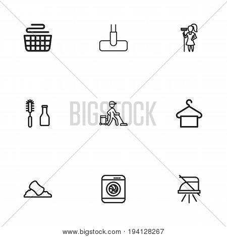 Set Of 9 Editable Cleanup Icons. Includes Symbols Such As Washer Machine, Suspender, Tools And More. Can Be Used For Web, Mobile, UI And Infographic Design.