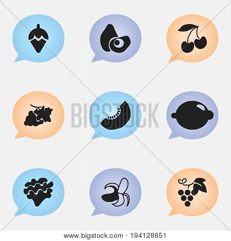 Set Of 9 Editable Dessert Icons. Includes Symbols Such As Banana, Lettuce, Grapevine And More. Can Be Used For Web, Mobile, UI And Infographic Design.