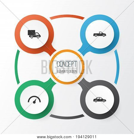 Auto Icons Set. Collection Of Carriage, Lorry, Chronometer And Other Elements. Also Includes Symbols Such As Carriage, Lorry, Truck.