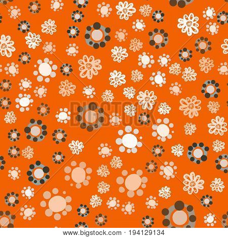 Abstract geometric vintage seamless flowers background. Vector illustration in childish style.