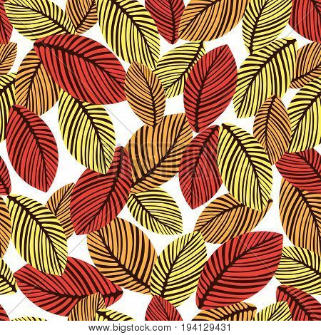 Abstract autumn leaves seamless pattern, vector background. Hand-drawn leaves on a white background. For fabric design, wallpaper, wrappers, decorating