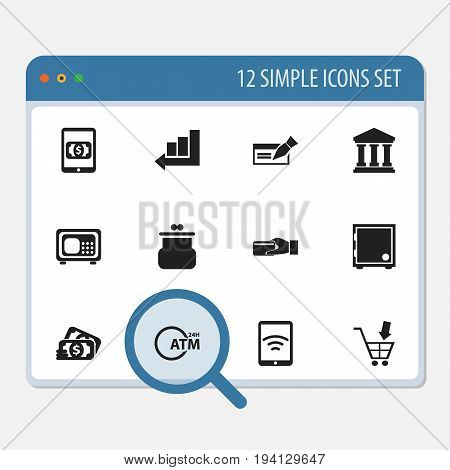 Set Of 12 Editable Banking Icons. Includes Symbols Such As E-Commerce, Strongbox, Line Chart And More. Can Be Used For Web, Mobile, UI And Infographic Design.