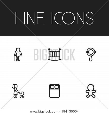 Set Of 6 Editable Kin Icons. Includes Symbols Such As Double Bed, Dad, Bedstead And More. Can Be Used For Web, Mobile, UI And Infographic Design.