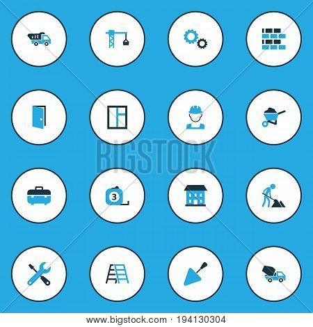 Architecture Colorful Icons Set. Collection Of Maintenance, Open, Case And Other Elements. Also Includes Symbols Such As Measure, House, Instruments.