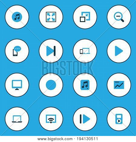 Multimedia Colorful Icons Set. Collection Of Chart, Decrease, Circle And Other Elements. Also Includes Symbols Such As Chart, Circle, Zoom.